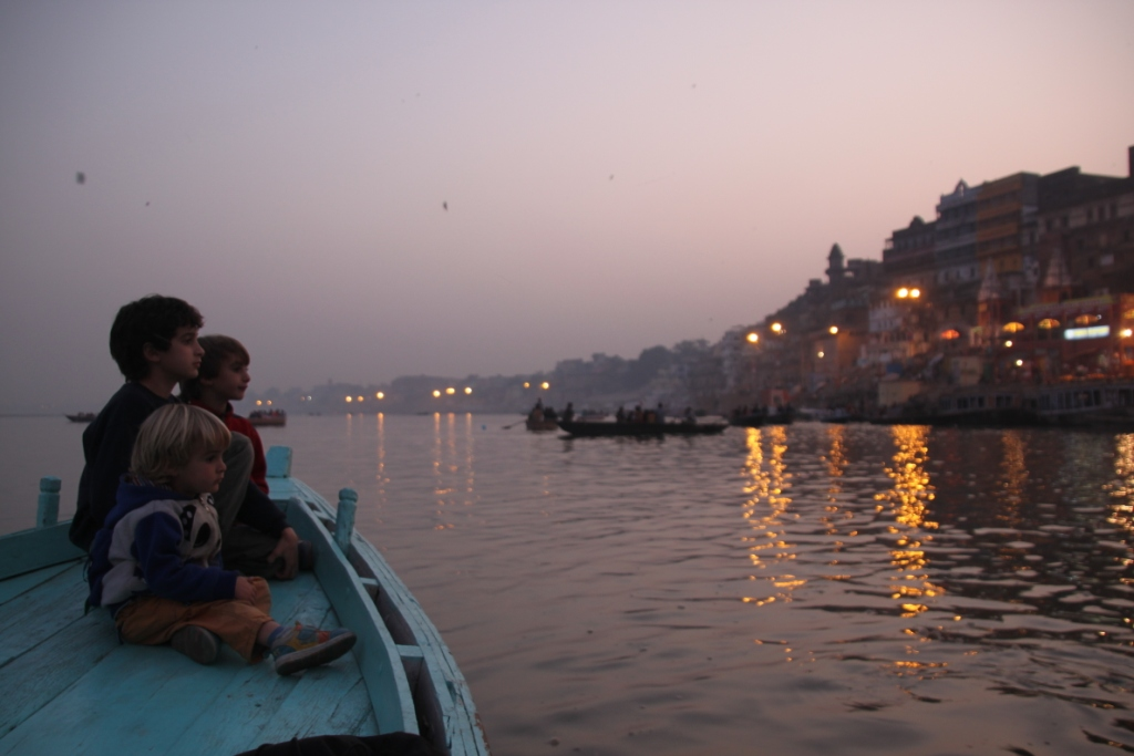 Rowing in the Ganges River, India